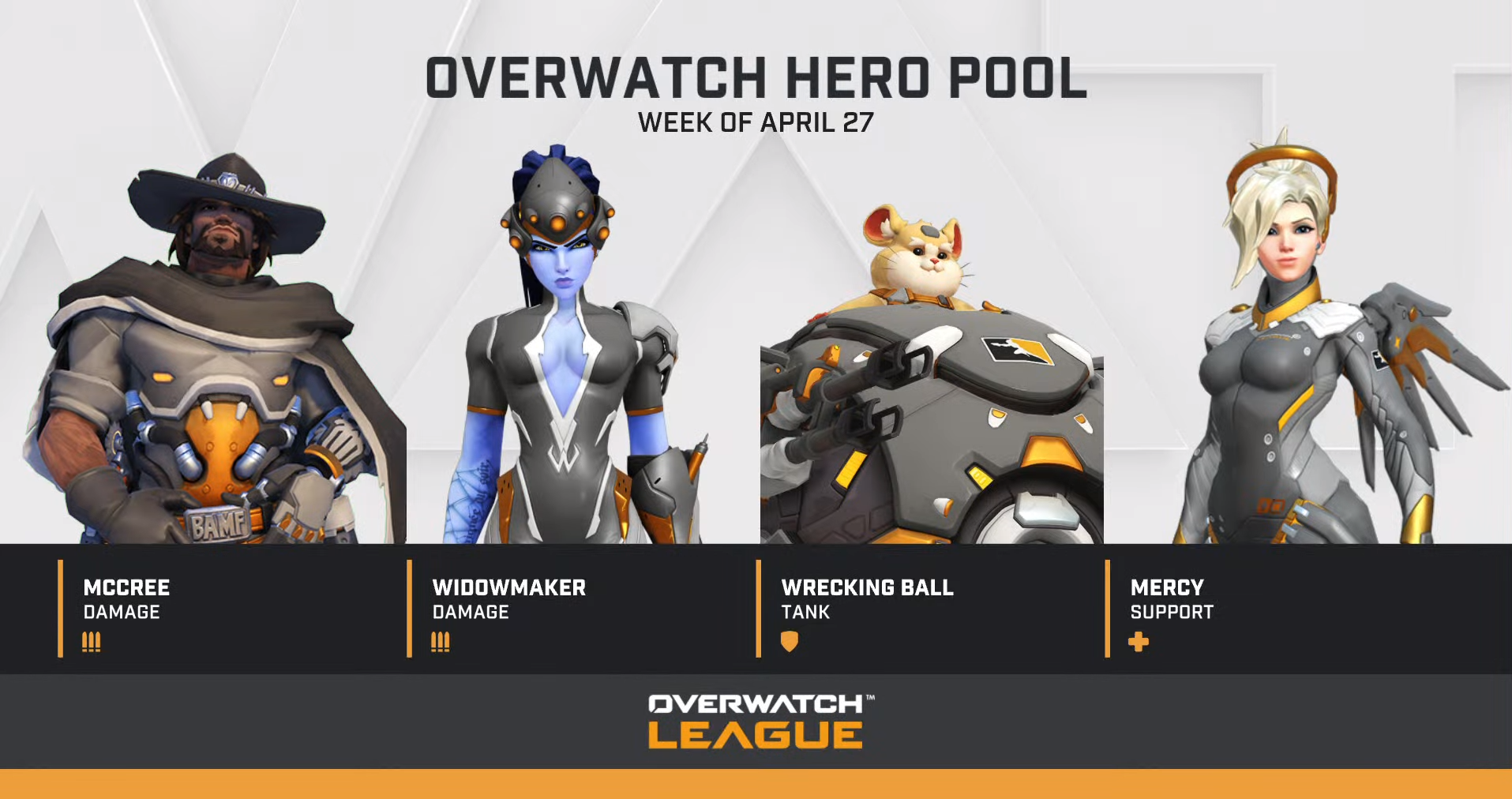 Overwatch April 27 hero pool bans McCree, Widowmaker, Wrecking Ball, and Mercy