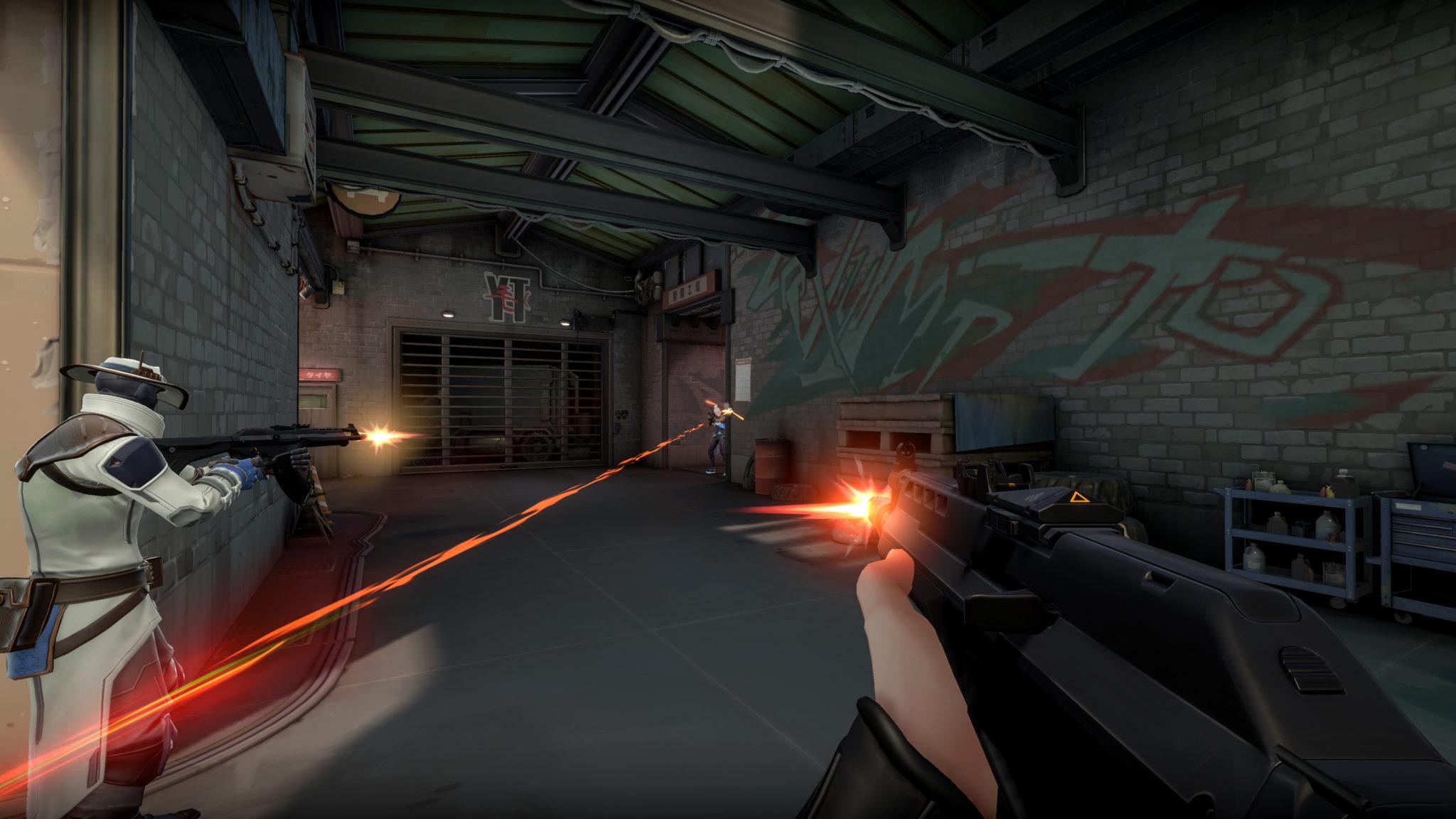 Player shooting Jett in Valorant.