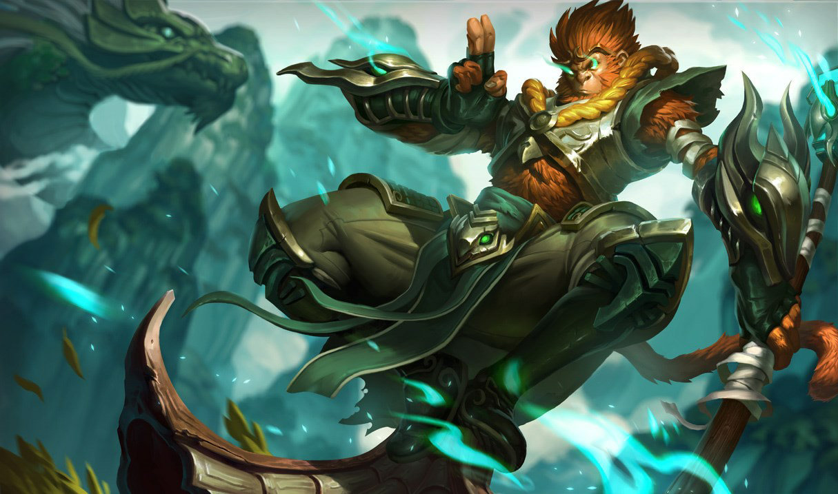 Jade Dragon Wukong splash art for League of Legends