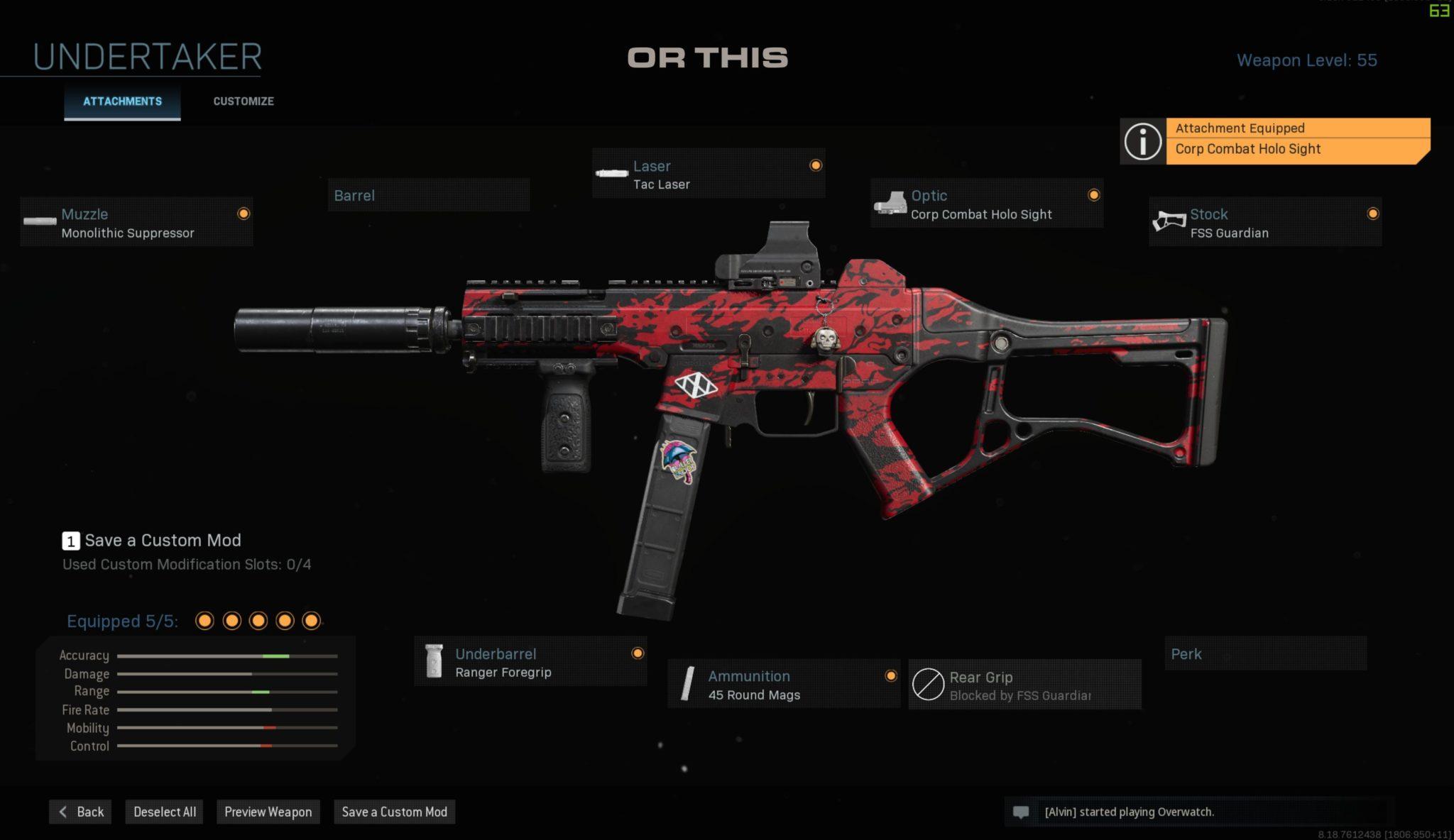Weapon blueprint in Modern Warfare.