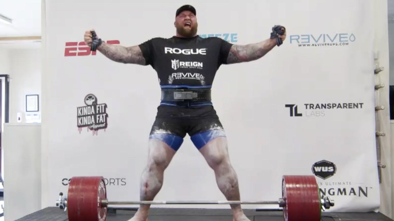 Hafthor Bjornsson celebrating his deadlift world record.
