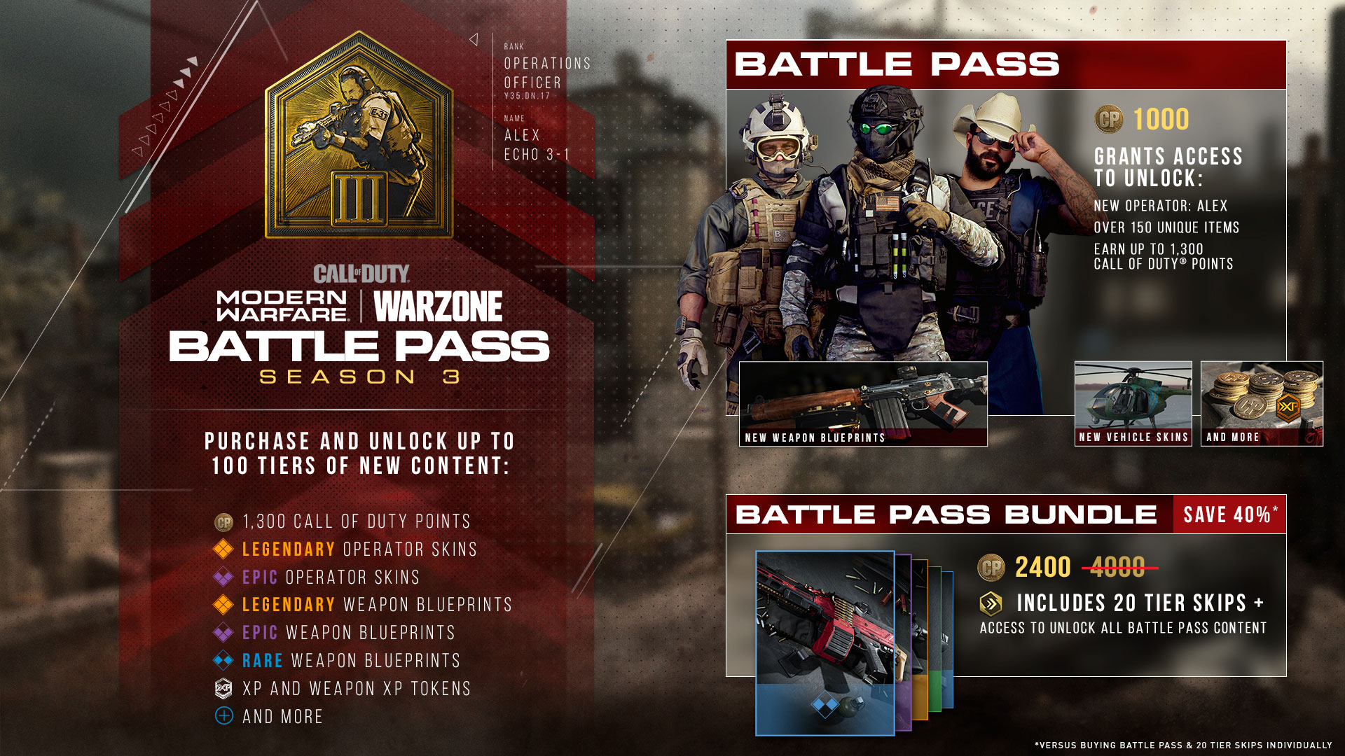 Modern Warfare Season 3 battle pass rewards.
