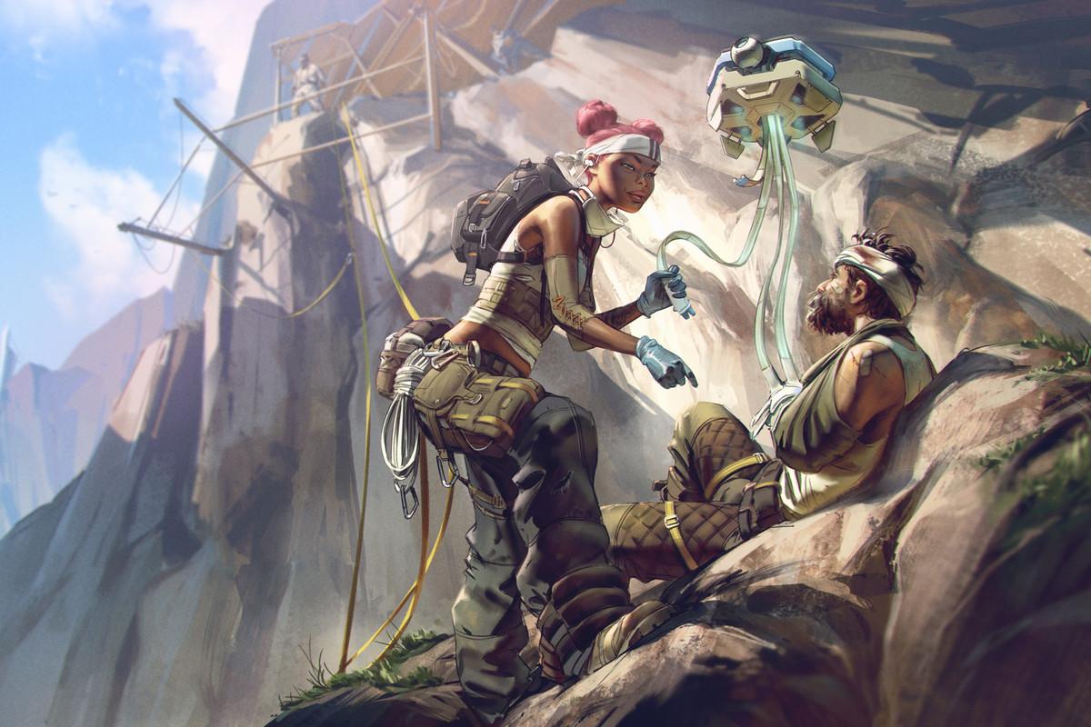 Lifeline healing ally in Apex Legends.
