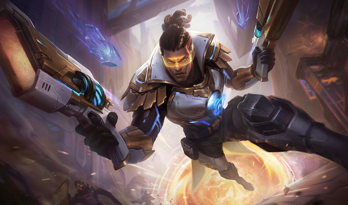 Prestige Pulsefire Lucian splash art for League of Legends