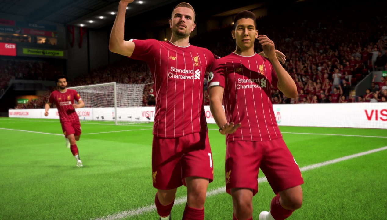 Liverpool players celebrating in FIFA 20