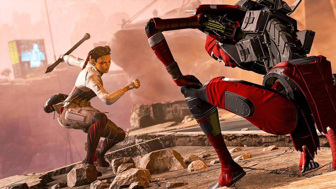 Loba fighting Revenant in Apex Legends.