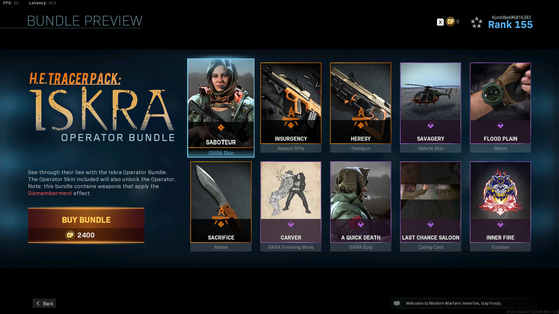 Iskra Operator bundle in Modern Warfare.
