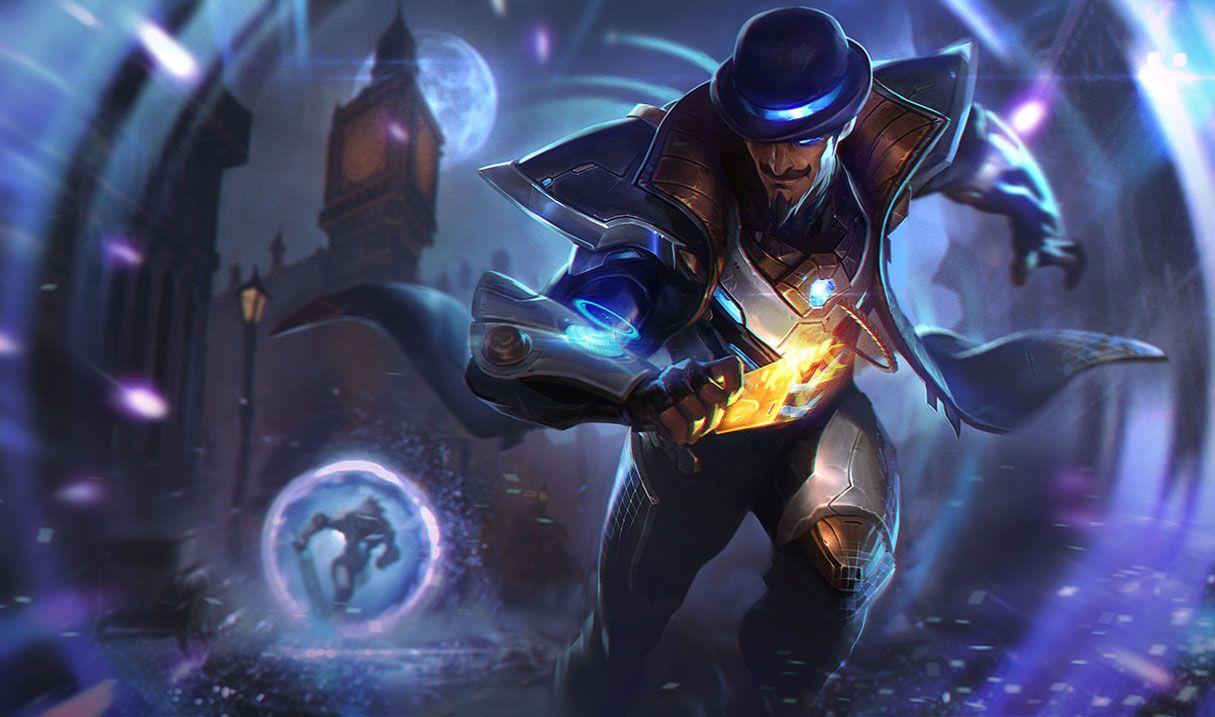 Pulsefire Twisted Fate splash art for League of Legends