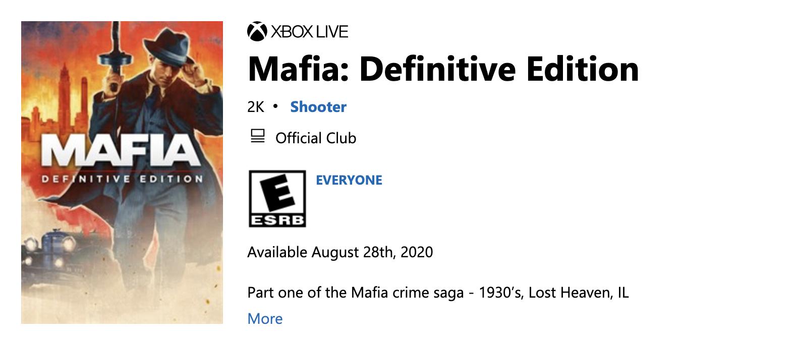 Microsoft store showing Mafia: Definitive Edition