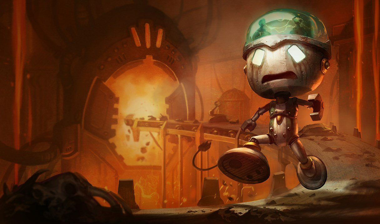 Sad Robot Amumu splash art for League of Legends