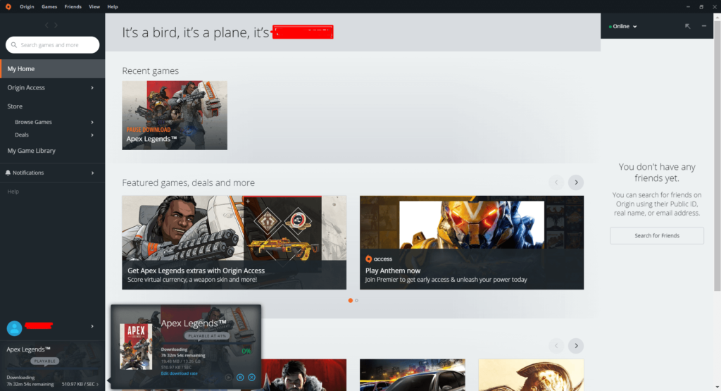 Apex Legends is currently exclusively available on EA's Origin client.