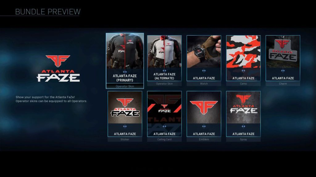 ATL Faze team bundle in Modern Warfare.