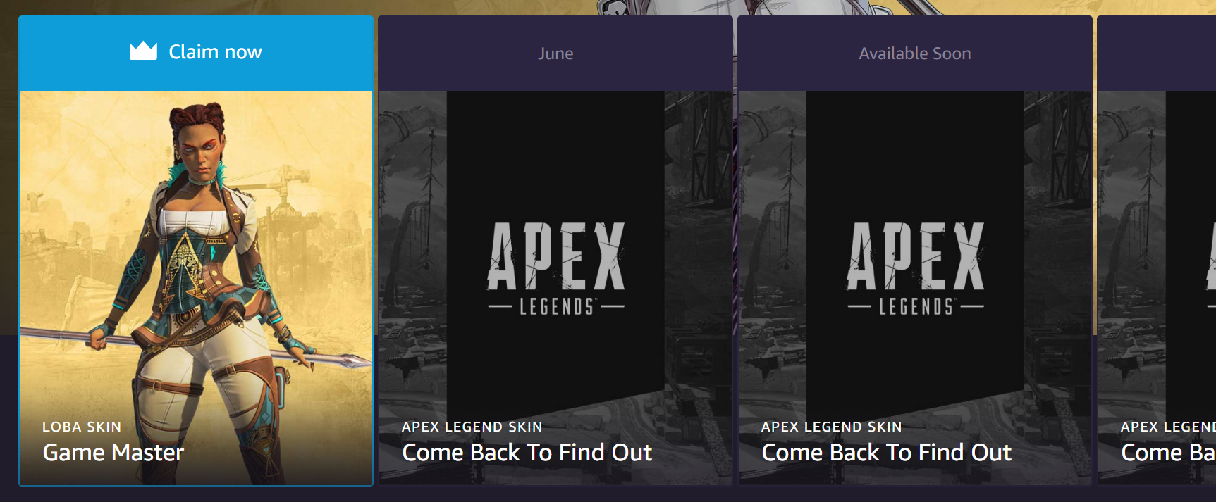 Respawn have yet to officially reveal which Legends will be getting Twitch Prime skins in June and July.