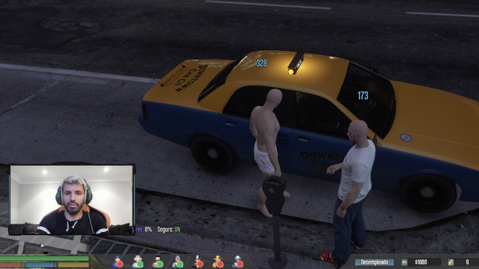 Aguero playing GTA on Twitch