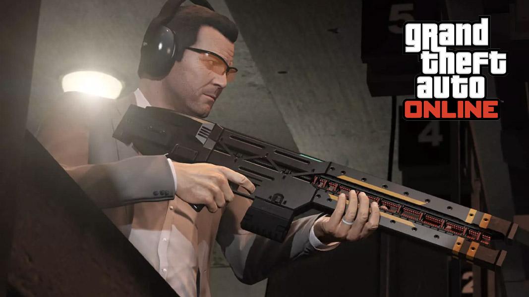 GTA character holding the Railgun