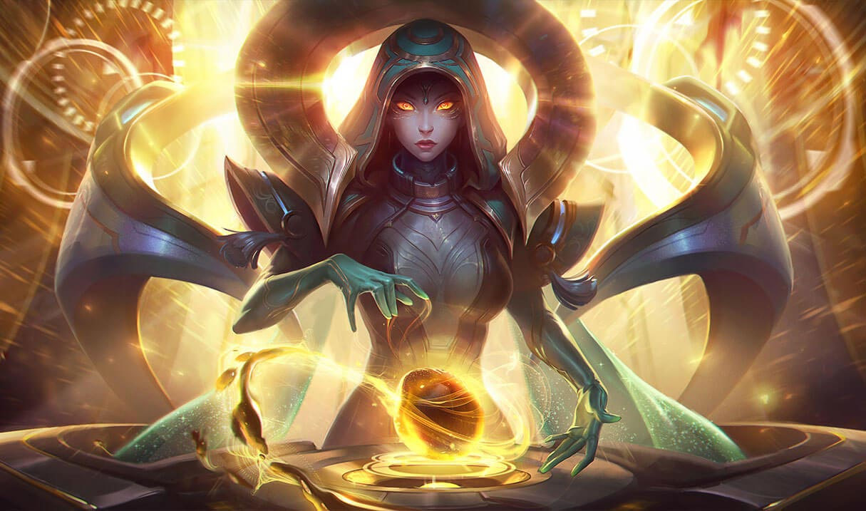 Odyssey Sona splash art for League of Legends