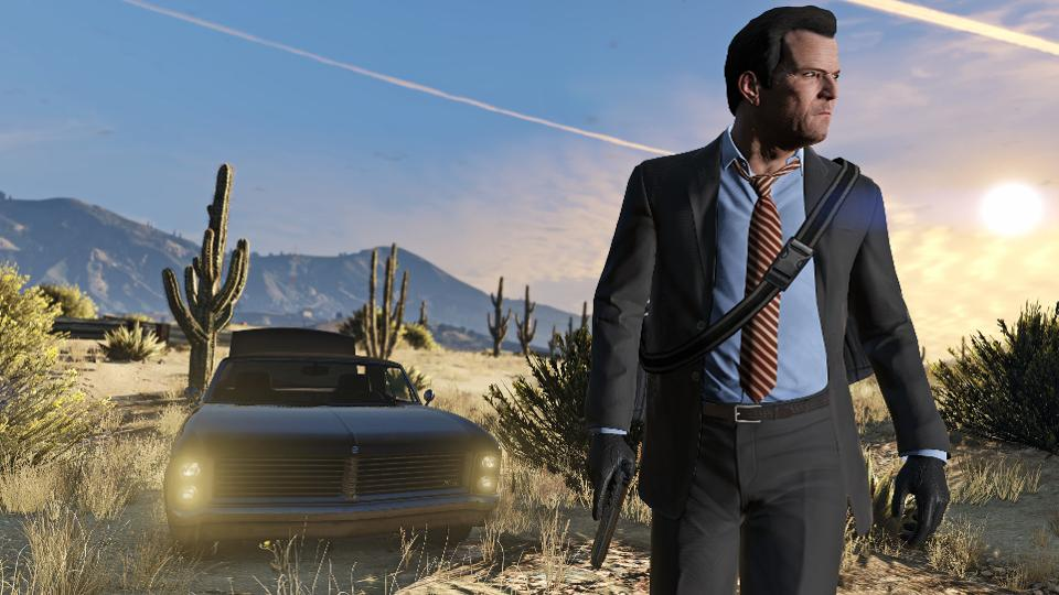 Michael from GTA drives his car in the desert