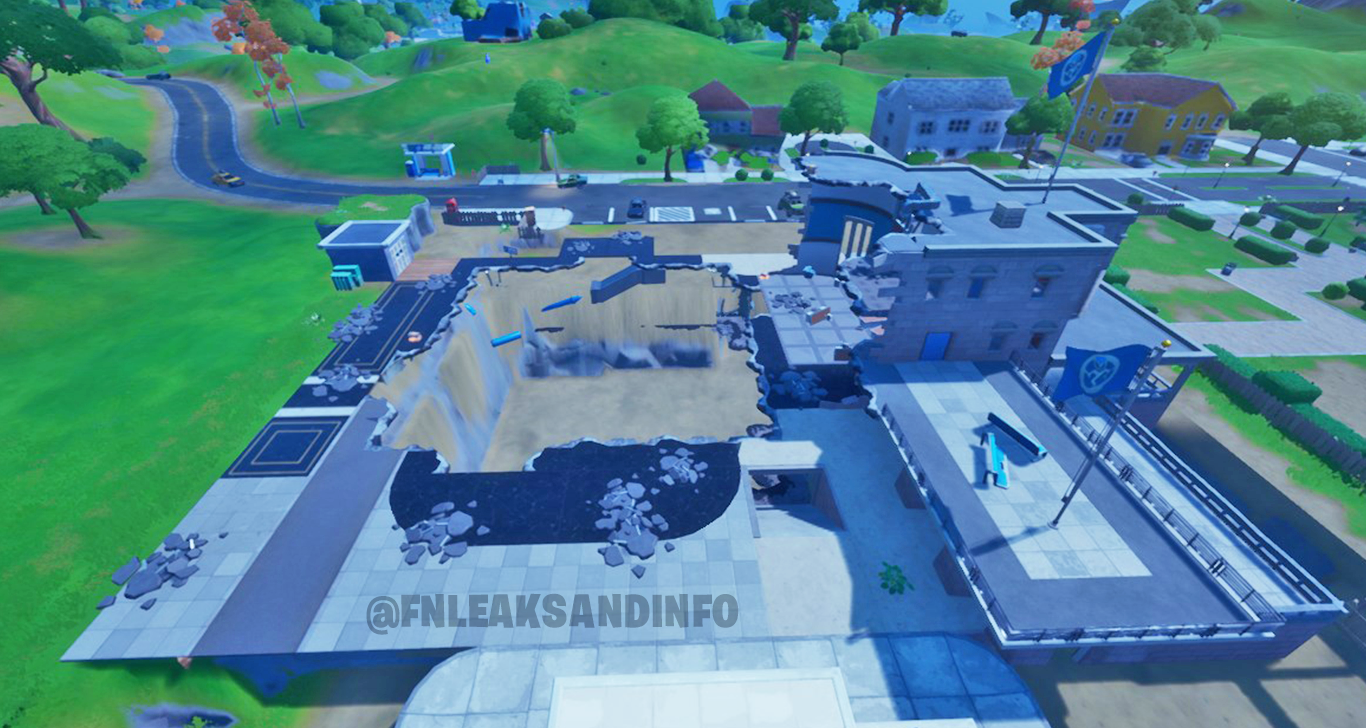 The Agency in Fortnite after being destroyed.