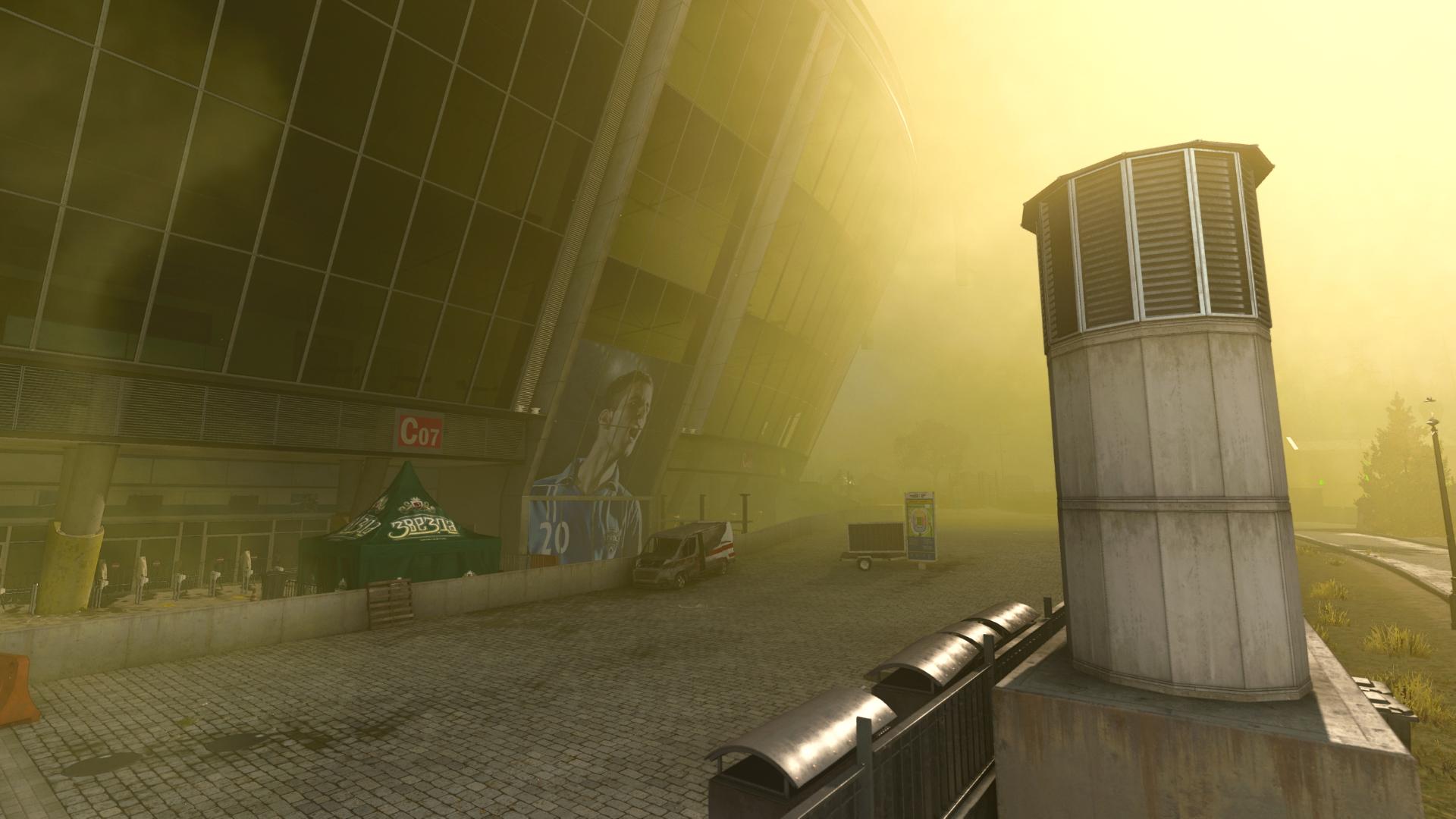 Warzone's gas collapsing on Stadium POI.