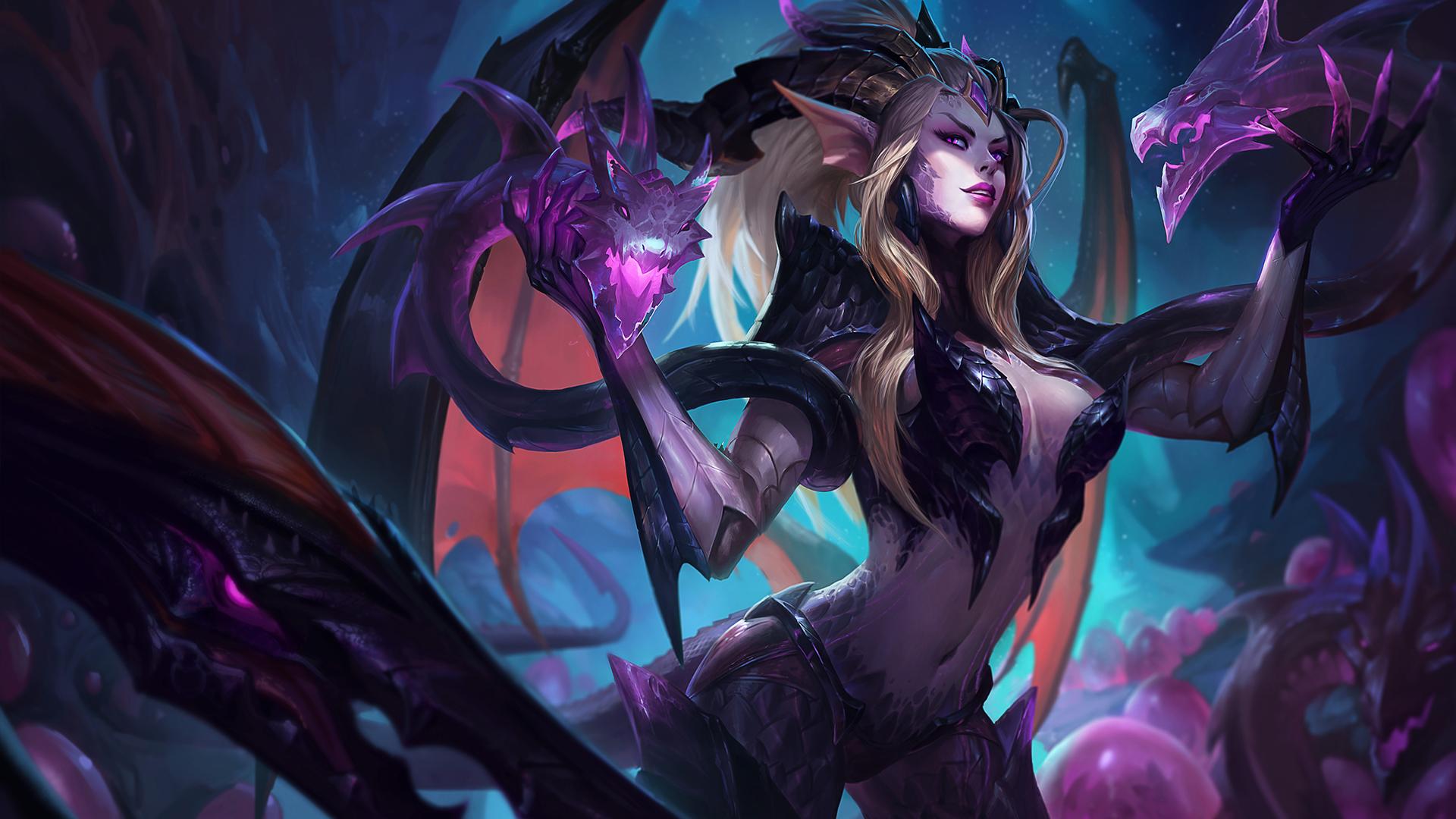Dragon Sorceress Zyra splash art for League of Legends