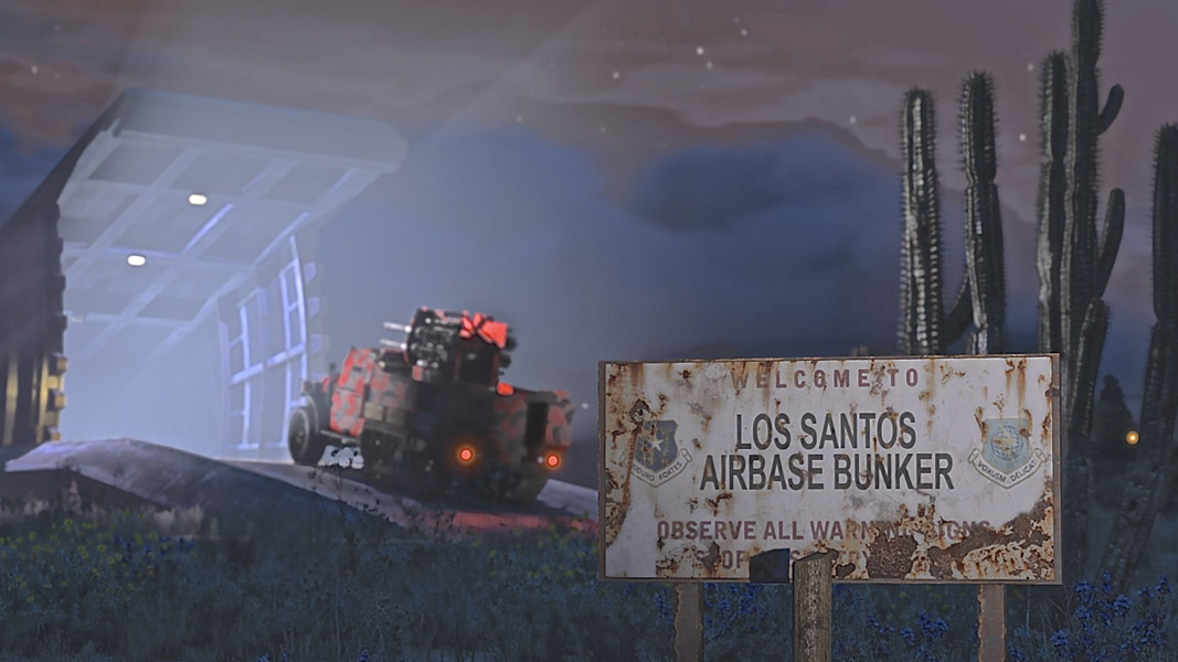 A car driving into a bunker in GTA Online