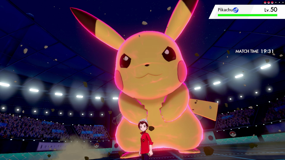 Dynamax Pikachu can eat Dynamax Soup to grow larger and more powerful.