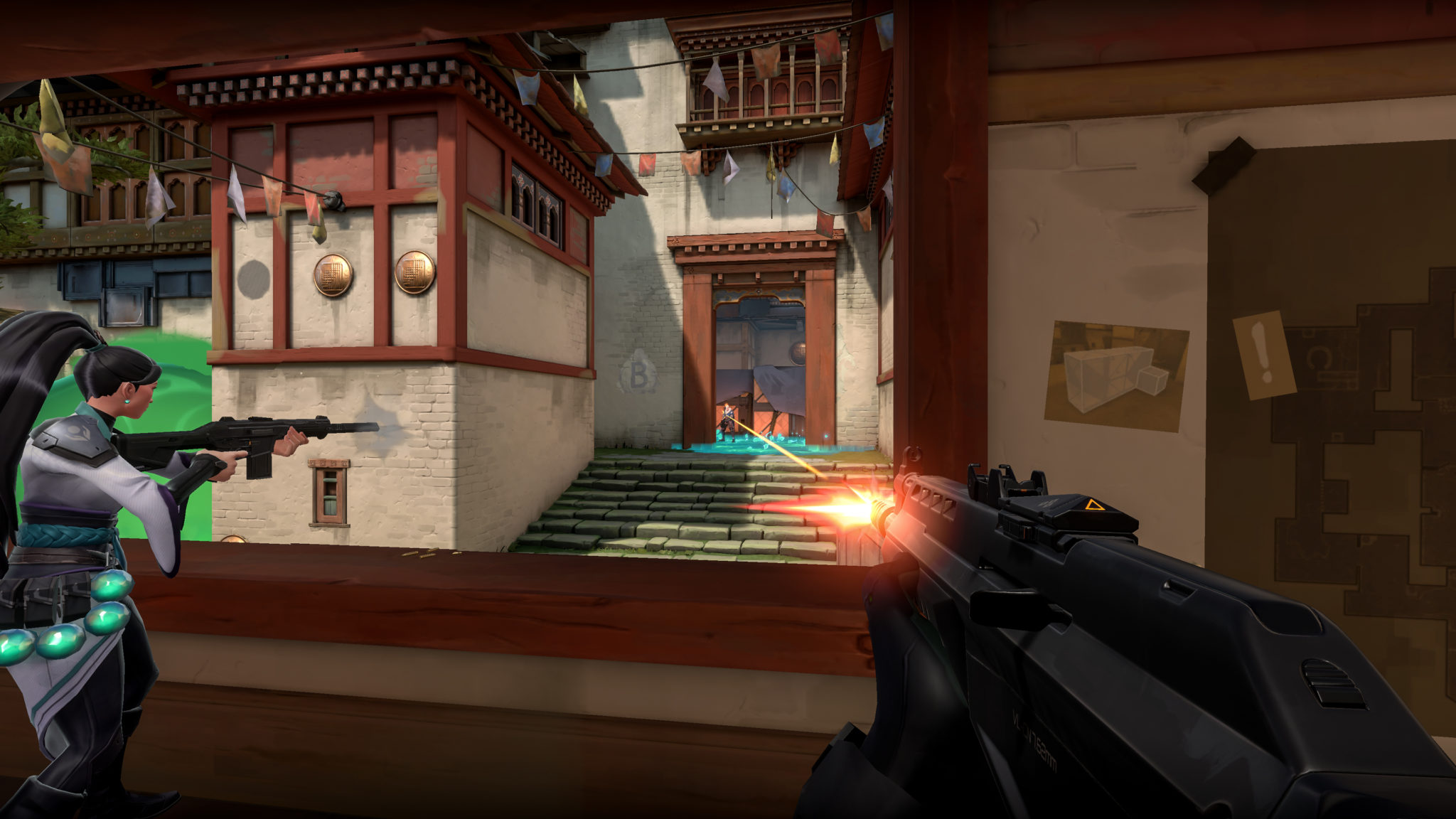 Player shooting weapon on Haven in Valorant.