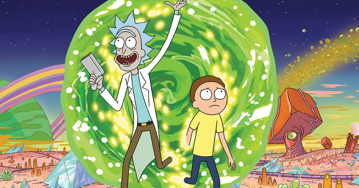 Rick and Morty stepping out of a portal.