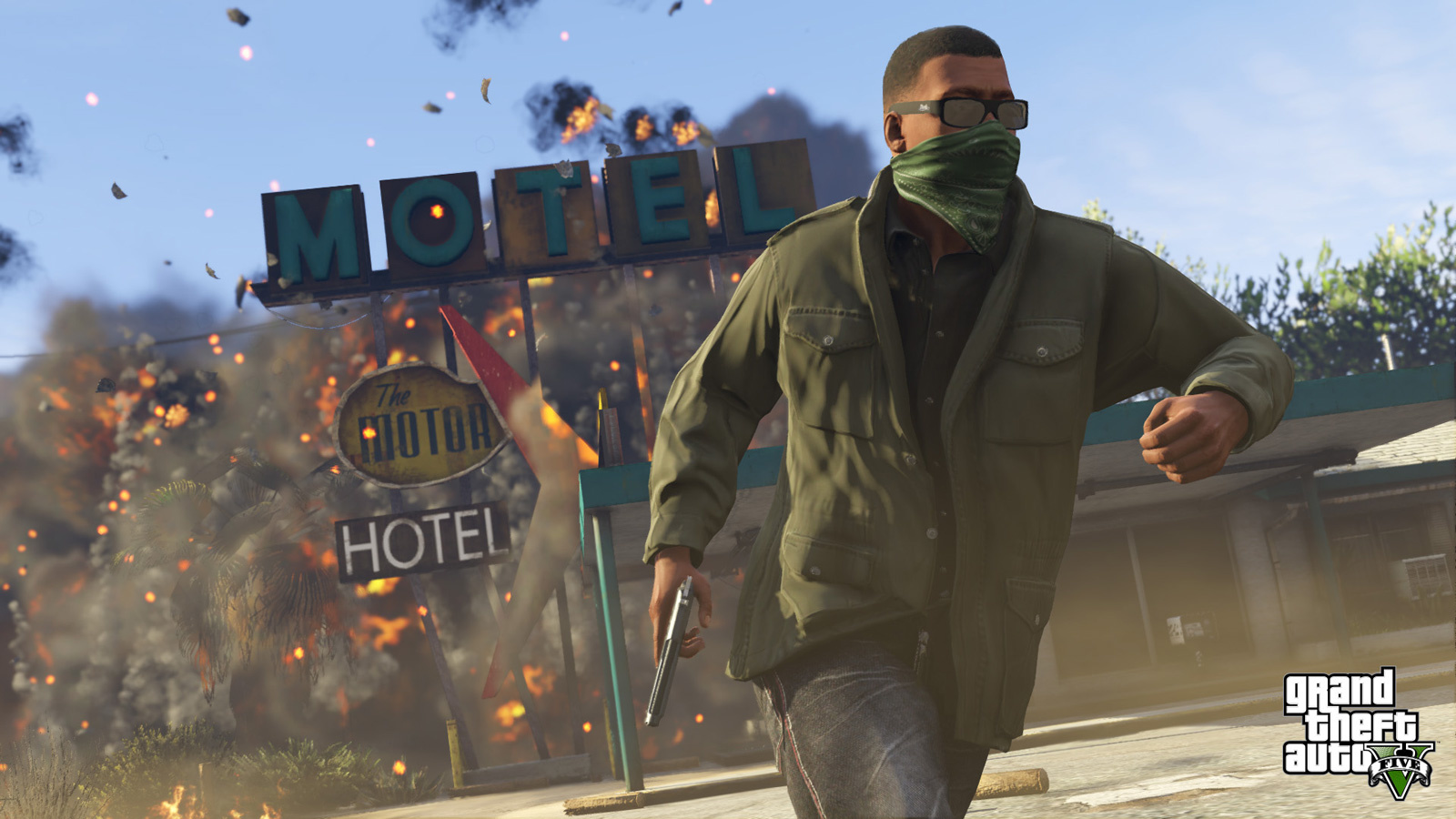 A GTA player runs away from an explosion