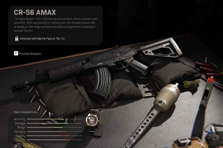 """Infinity Ward's official description for the gun describes it as a """"lightweight 7x62 x 39mm full auto assault rifle,"""" which is both """"compact"""" and """"powerful."""""""