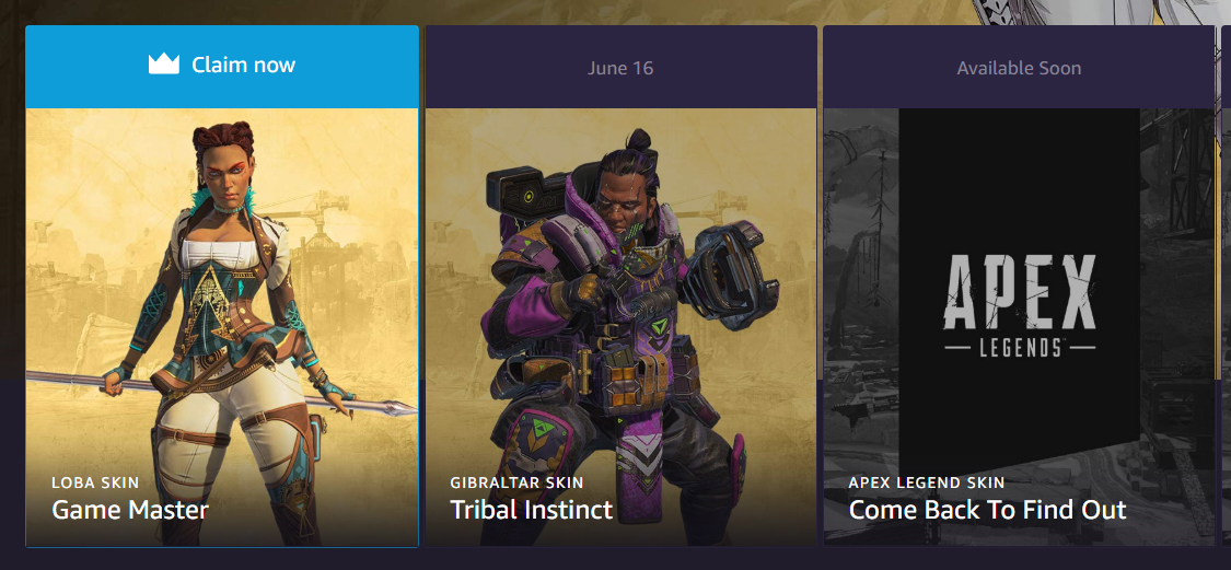 For the next few days, you could get your hands on two Apex Legends Twitch Prime skins for the price of one.