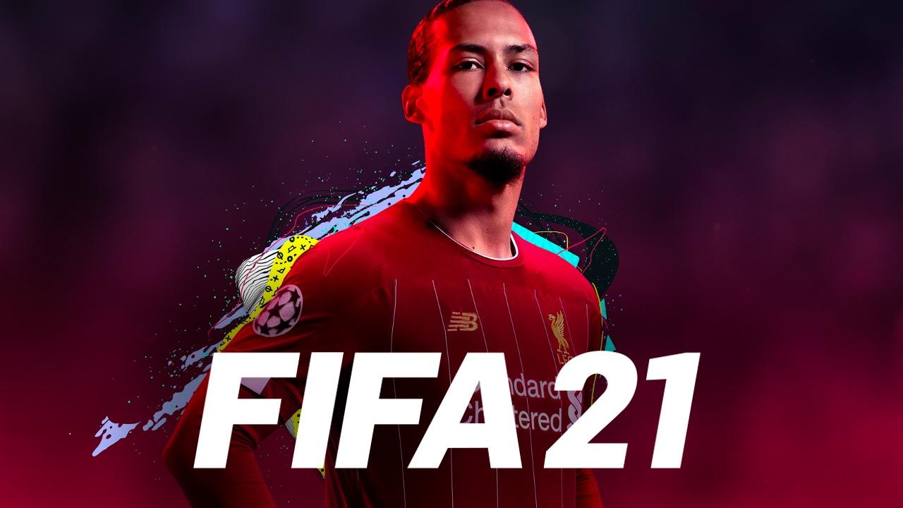 Virgil van Dijk with FIFA 21 logo