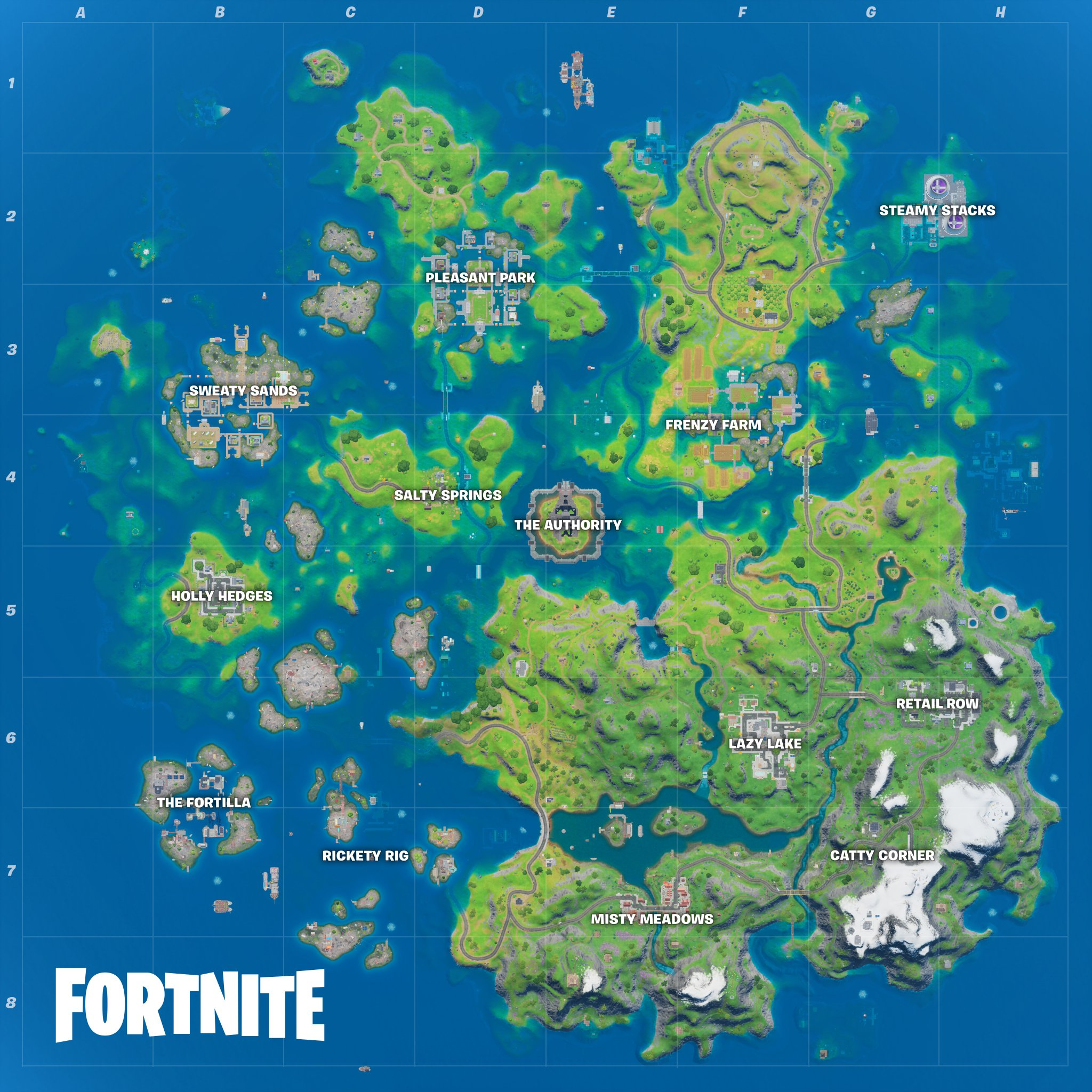 A full look at the new flooded Fortnite Chapter 2 Season 3 map.