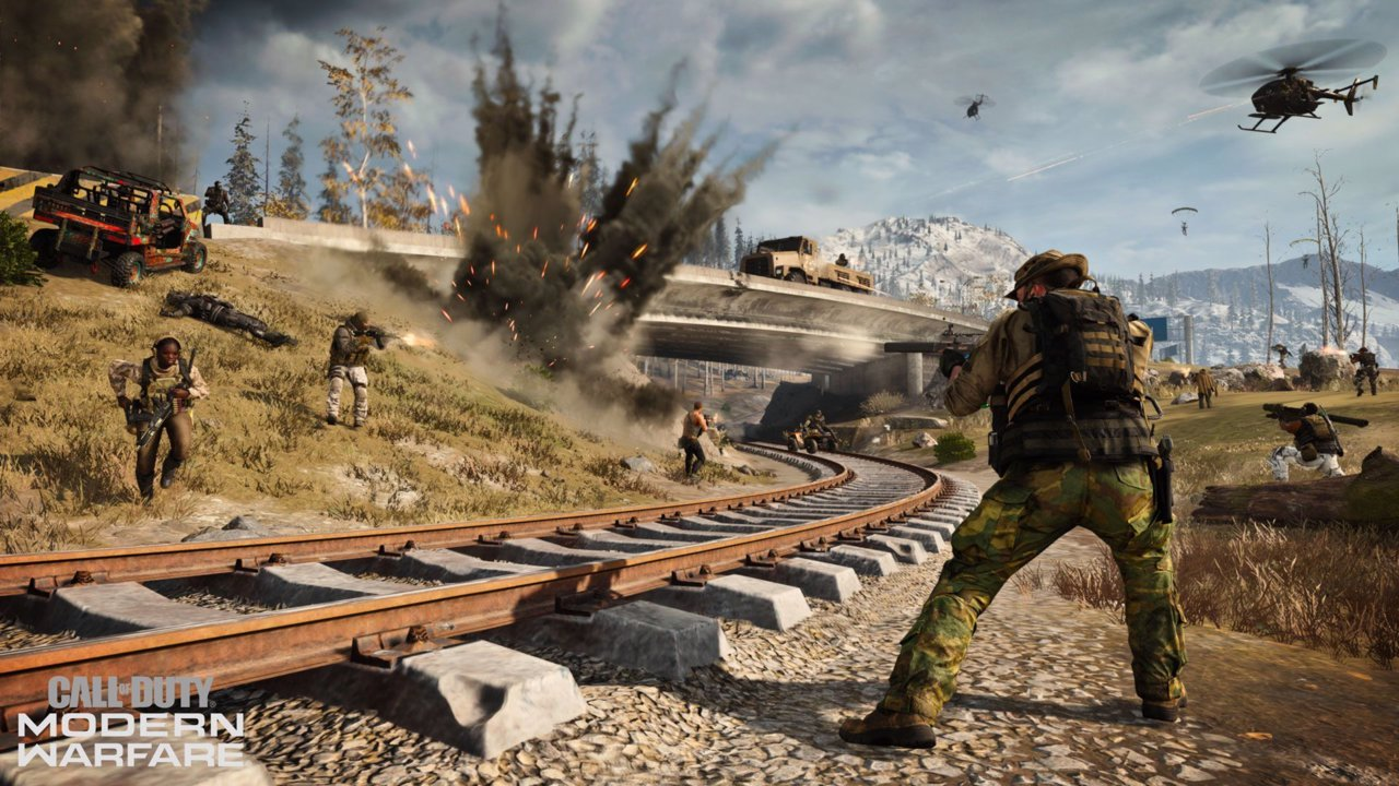 Warzone players fighting on a train track