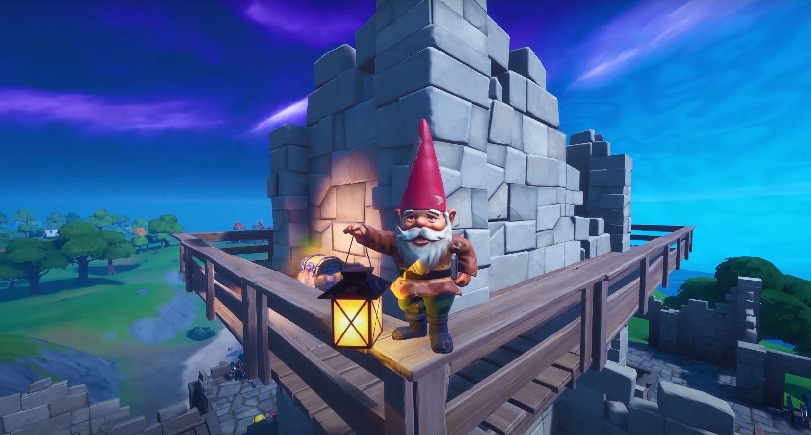 Gnome on the Fortnite map holding a lantern