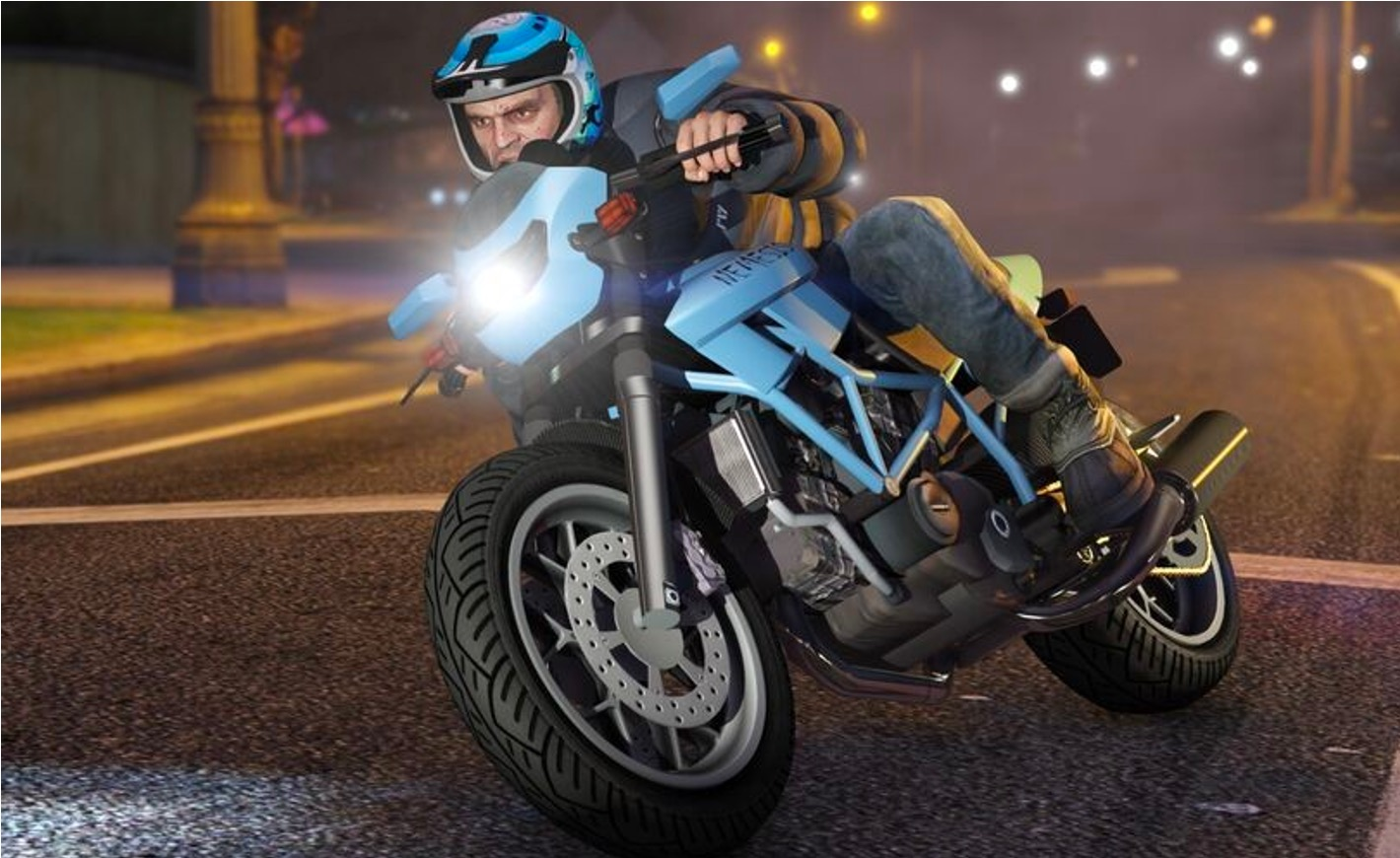Trevor in GTA driving a Nemesis bike
