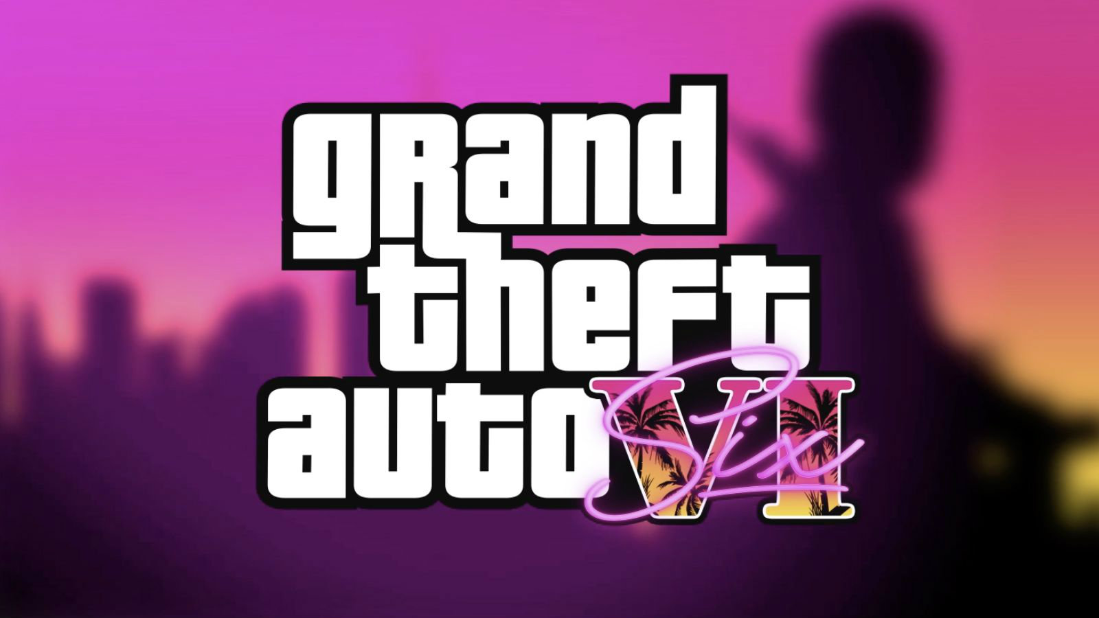Grand Theft Auto 6 logo with Vice City background