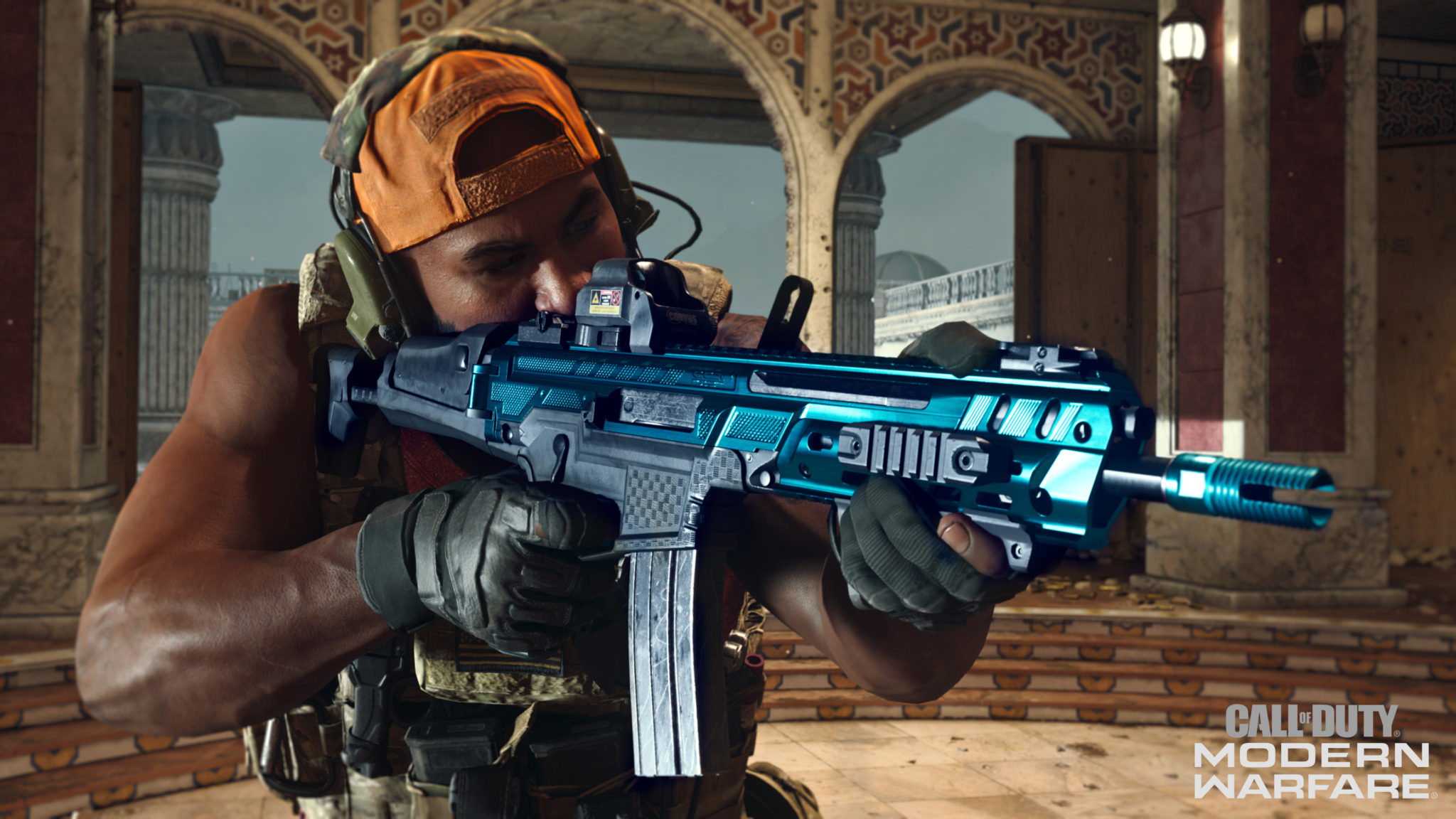 A Warzone player aims down sights with their gun.