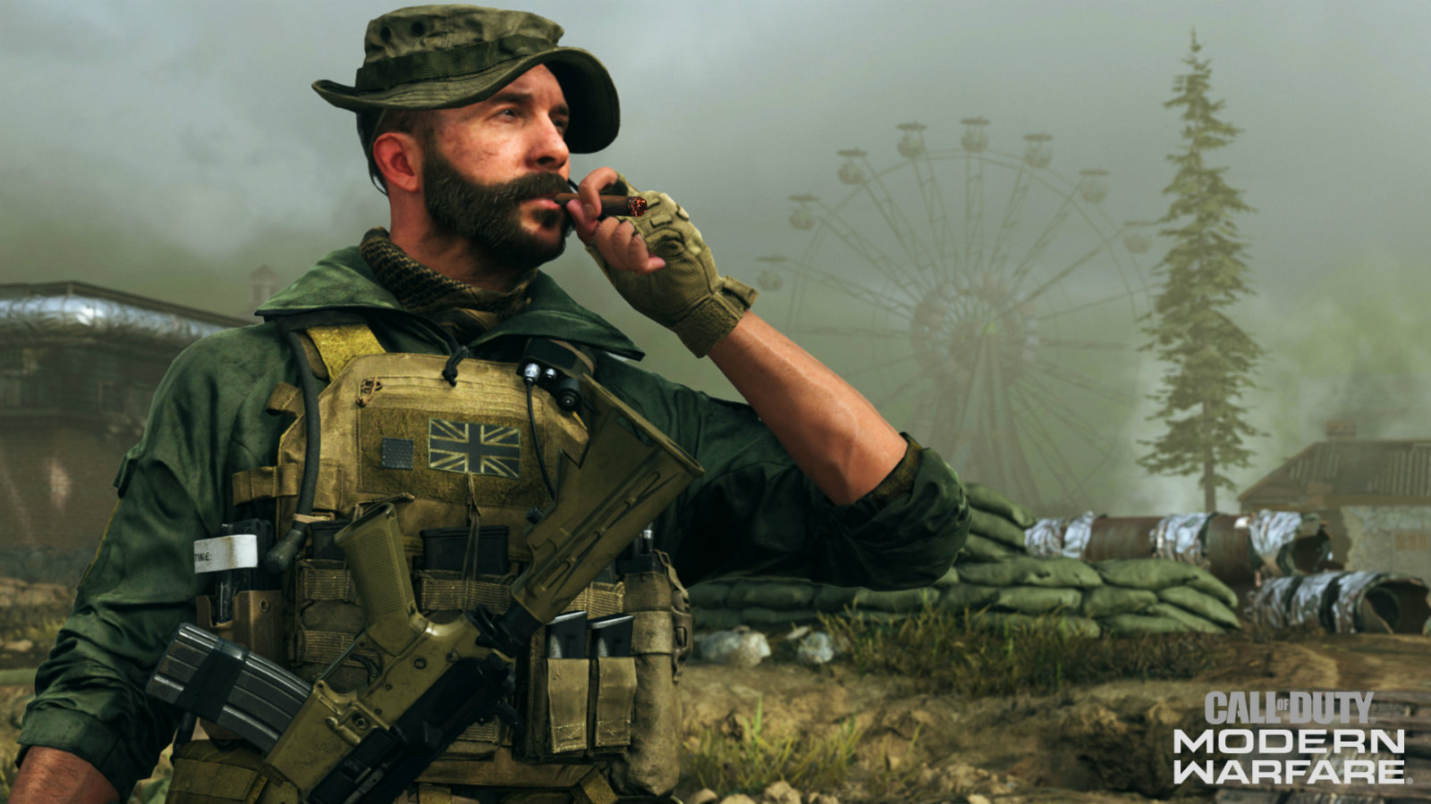 Captain Price smokes a cigar while overlooking battlefield in Call of Duty: Modern Warfare
