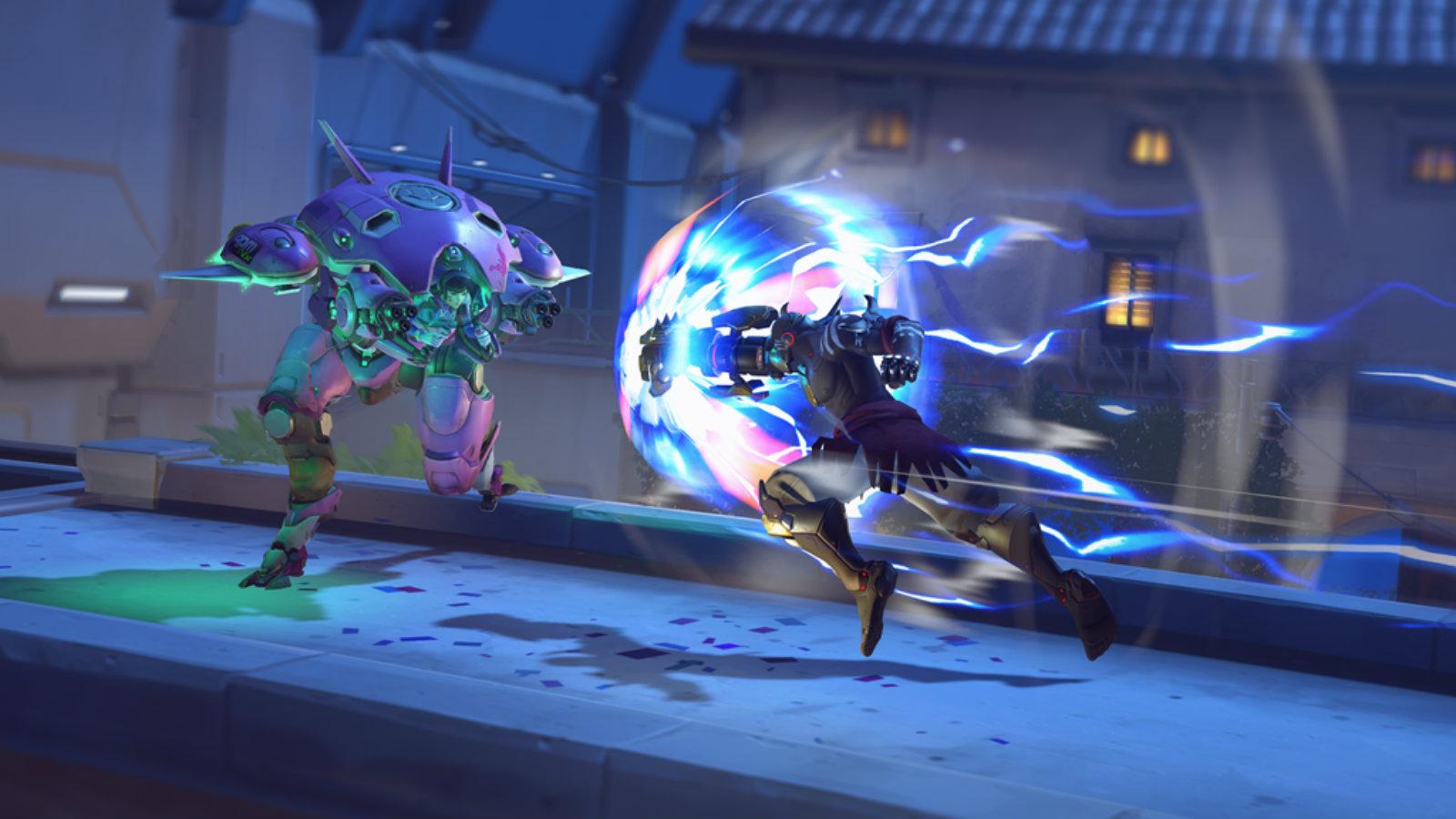 Doomfist rocket punches Dva on Dorado in Overwatch