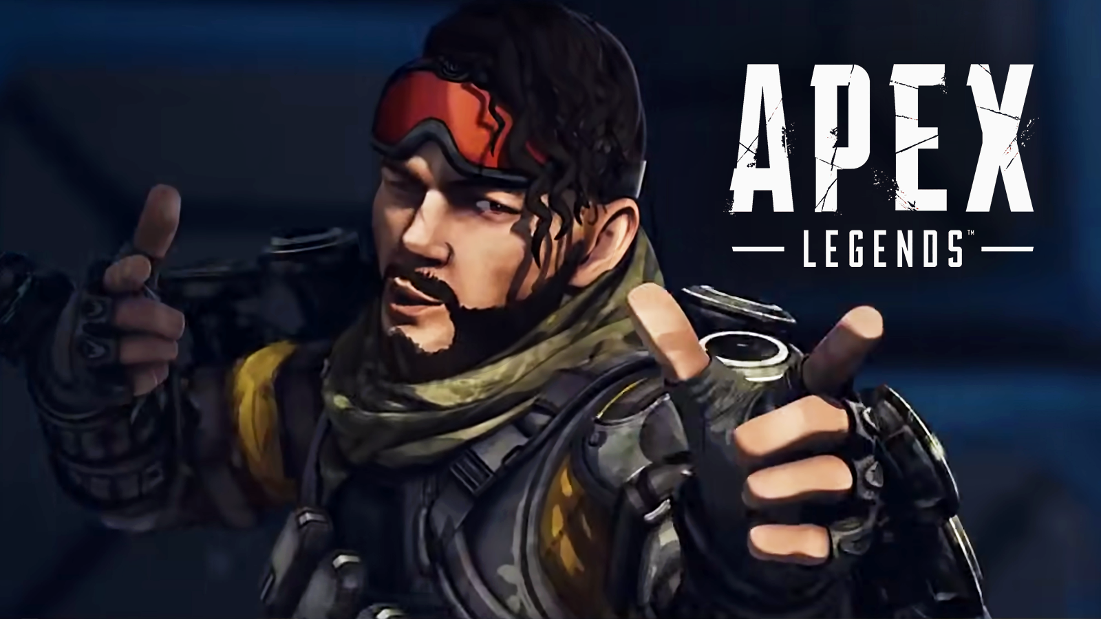 Mirage pointing next to Apex Legends logo
