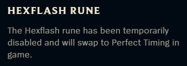 Hexflash disabled message in League of Legends