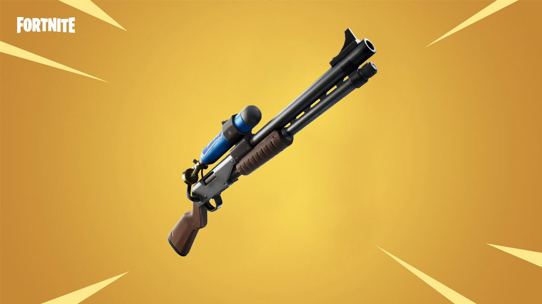 Fortnite's Charge Shotgun on a gold background