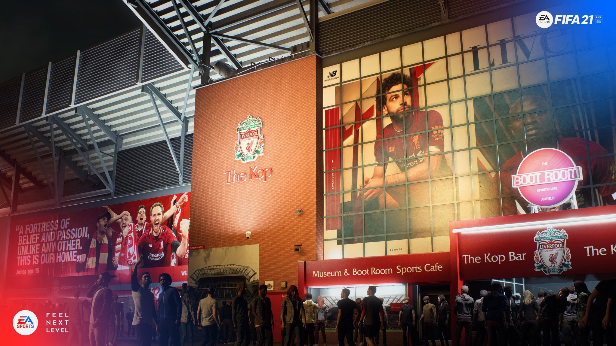 Outside Liverpool's Anfield stadium in FIFA 21