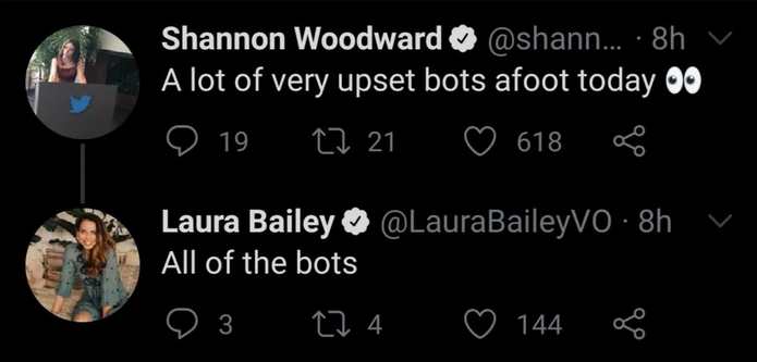 Voice actors Shannon Woodward and Laura Bailey blame bots.