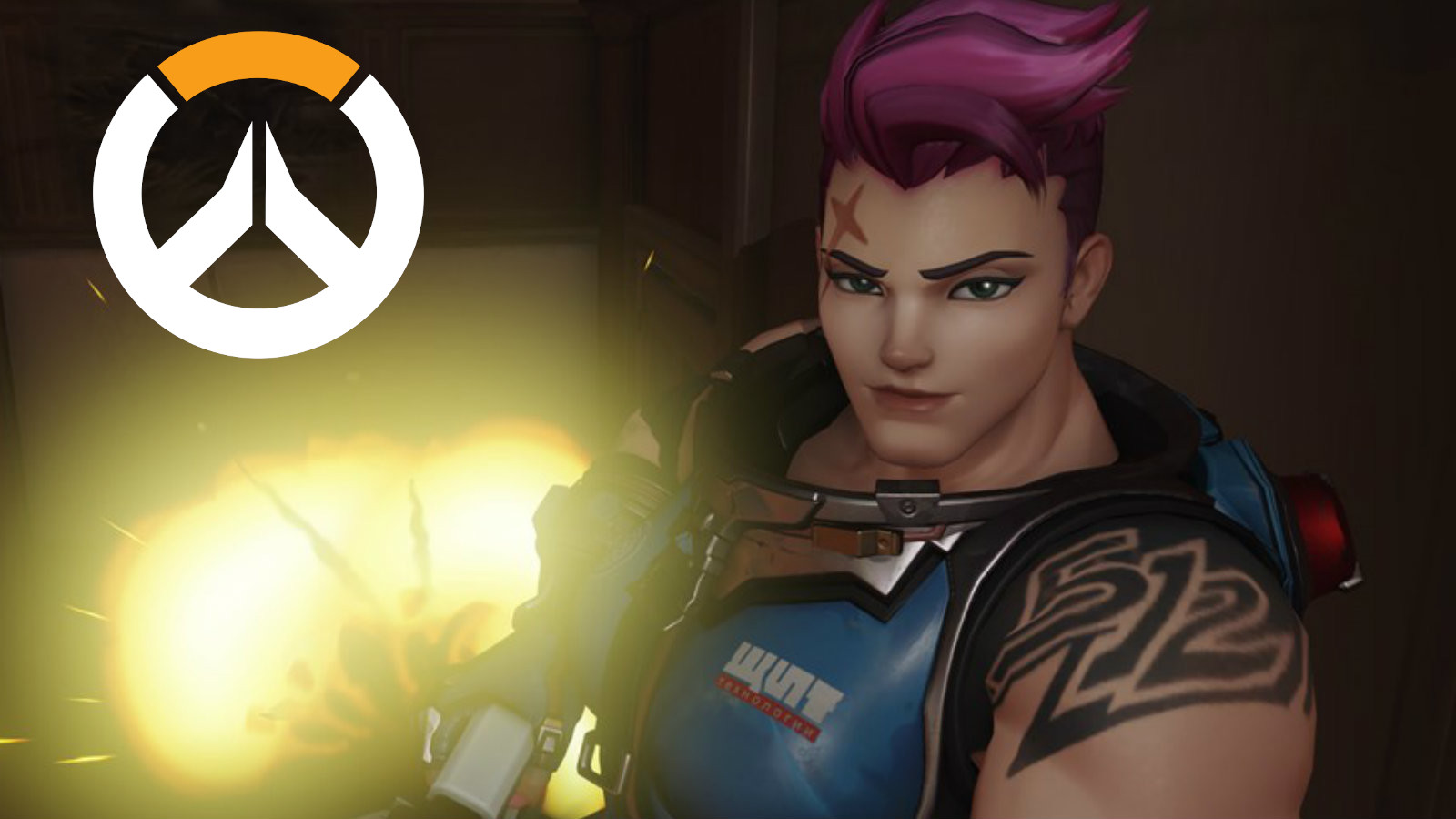 Zarya from Overwatch grins as an explosion happens behind her