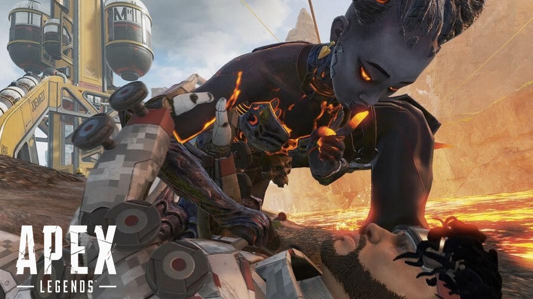 An image of Lifeline reviving Mirage in Apex Legends