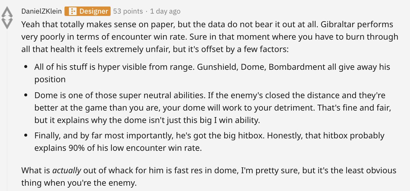 Reddit comment explaining Gibraltar balance in Apex Legends