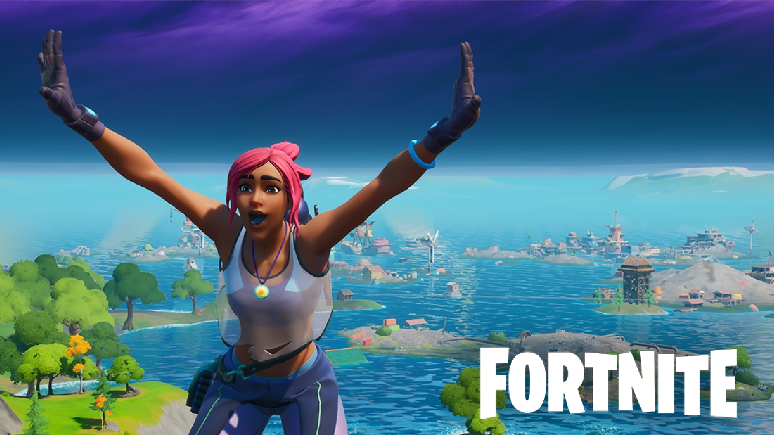 Fortnite character in front of Season 3 map