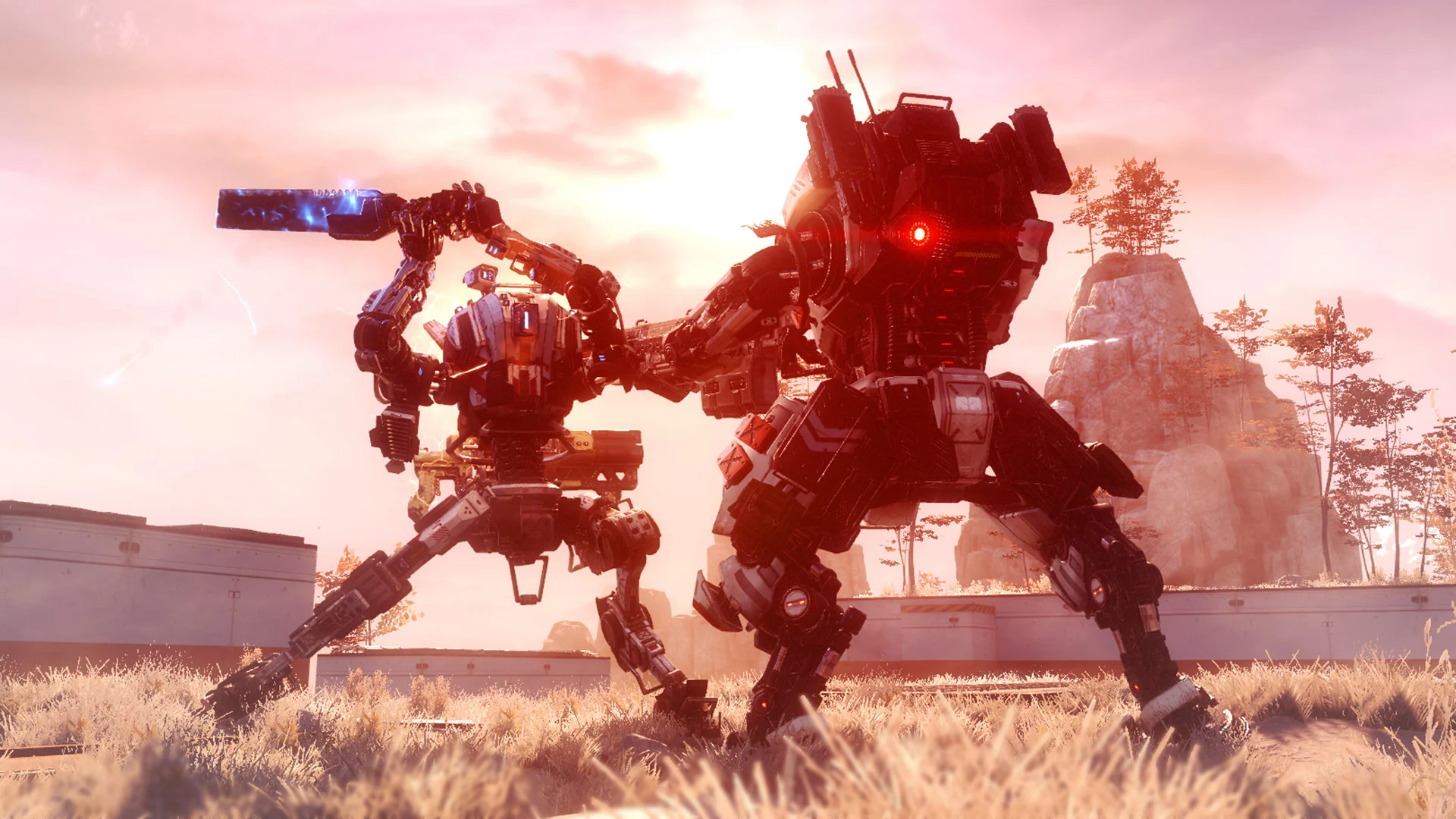 Two Titans battle in the Respawn title Titanfall 2.